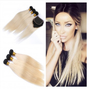 Tony Beauty Hair Brazilian Blonde Virgin Human Hair Wefts With Closure Silky Straight #613 Bleach Blonde 4x4 Lace Closure With 3 Bundles Human Hair Extensions