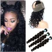 Tony Beauty Hair Pre Plucked Ear to Ear 360 Band Full Lace Frontal Closure With3Pcs Loose Wave Wavy Indian Virgin Remy Human Hair Weave Bundles 4Pcs Lot