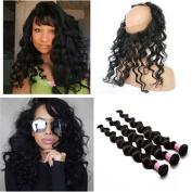 Tony Beauty Hair Loose Wave 360 Lace Band Frontal Closure With 3 Bundles Pre Plucked Brazilian Virgin Hair 360 Lace Band Closure With Human Hair Wefts Extensions 4Pcs Lot
