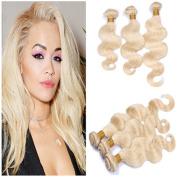 Tony Beauty Hair 3Pcs Brazilian Blonde Virgin Remy Human Hair Weave Bundles 9A Body Wave #613 Bleach Blonde Human Hair Extensions Double Wefts 10-80cm