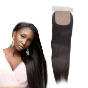 Dingli Hair Silke Base Closure Free Part Brazilian Virgin Hair Straight Lace Closure with Baby Hair 10cm x 10cm Natural Colour