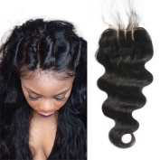 Arling 3 Part Lace Closure 4x 4 Body Wave Human Hair Closure Piece with Baby Hair Natural Black Colour No Bleached Knots 25cm