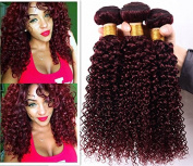 YAMI 4 Bundles 7A 99j Dark Red Brazilian Kinky Curly Virgin Hair Burgundy Brazilian Hair Weave Bundles Curly Hair Extensions