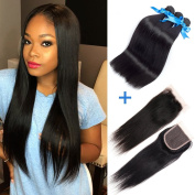 GEFINE Hair Brazilian Straight Hair Extensions 3pcs with Lace Closure Free Part Grade 7a Unprocessed Remy Virgin Human Hair Natural Colour 24 24 24+50cm