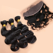 Slove Lace Frontal Closure with 3 Bundles Brazilian Virgin Human Hair Extension Remy Body Wave Ear to Ear 13x4 with Natural Hairline Baby Hair Natural Black Colour Remi 12 14 16 Closure 10