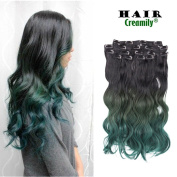 Creamily 46cm Long Curly Wavy Ombre Natural Black to Green Clip in 8 Pieces Full Head Set Hair Extensions 8pcs Hairpiece Extension for Women