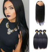 Free Part 360 Lace Frontal Band Closure With Malaysian 3Bundles Straight Weft Hair