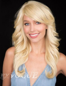 Exvogue Ladies Blonde Wigs with Side Swept Bangs Synthetic Wavy Medium Length Hair Style