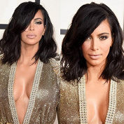 NiceToBuy Glueless Short Wavy Bob HairCut Lace Front Wig with Side Bangs Brazilian Virgin Human Hair Wigs for Women 130% Density