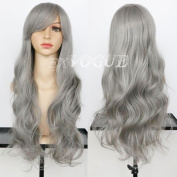 Exvogue Synthetic Silver Grey Hair Wig with Side Swept Bangs Long Slight Wave Capless Wigs for African American Women