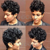 Exvogue Cool Style Synthetic Black Short Curly African Hair Wigs for Women or Men