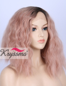 K'ryssma Short Bob Wavy Lace Front Wigs for White Women Ombre Dark Roots to Mixed Pink Glueless Synthetic Hair Wig Heat Resistant Middle Parting