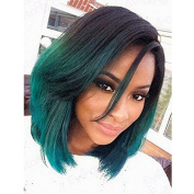 SunnyGrace Fashion Ombre Short Bob Synthetic Lace Front Wigs Natural Straight Heat Resistant For Black Women
