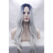 SunnyGraceTwo Tone Cheap Synthetic Long Wave Heat Resistant Wig Middle Part Ombre Black Rooted Silver Grey 130% Density for Women