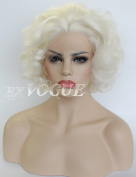 Exvogue Short White Platinum Blonde Wigs for Women Deep Wave Lace Front Synthetic Hair Wig