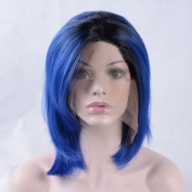 SunnyGraceOmbre blue wig short straight bo synthetic heat resistant fibre hair lace front wig with baby hair
