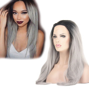 Dingli Hair Ombre Grey 2 Tones Long Straight Synthetic Lace Front Wig Black Roots Long Natural Straight Silver Grey Heat Resisent Fibre Hair Wigs for Women 60cm