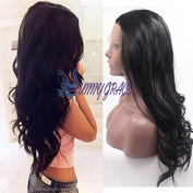 Sunny GraceBody Wave Lace Front Synthetic Hair Black Wigs for Women Half Hand Tied Heat Resistant #1b
