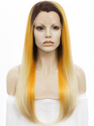 Ombre Wig Long Straight 60cm Silky Hair Synthetic Lace Front Wig Black Root Yellow