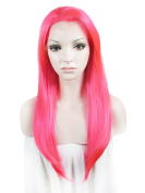 "Lace Wig Long 24""Straight Synthetic Lace Front Wig High Density Highlight Rose"