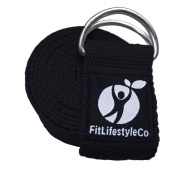 Yoga Strap - Best For Stretching - 6 Colours - Instructional Video - Durable Cotton With Metal D-Ring