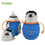 Haakaa 300ml Wide Neck Food Grade Stainless Steel Baby Bottle with a Wide Neck Food Grade Silicone Nipple and a Pure Cotton Cover (Blue