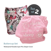 """Baby Tooshy Cloth Nappy Covers with DOUBLE Gussets. Waterproof, Adjustable & Reusable. One Size for Prefolds/ Flats/ Inserts. Set has 1 Embroidered """"Cloth on my bum..."""" & 1 Patterned Cover. Buttercup"""