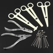 LuckyFine Disposable Sterile 2Pcs Pliers 3Pcs Forceps Needles Body Piercing Supplies Tools Kit Set