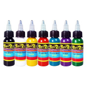 Solong Tattoo® 7 Basic Colours Tattoo Ink Set Pigment Kit 1oz (30ml) Professional Tattoo Supply for Tattoo Kit TI301-30-7