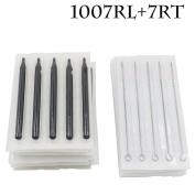 Yuelong® 50pcs Disposable Sterile Tattoo 7rl Round Liner Needles & 7r Round Long Sterile Black Tips Stem Nozzle Tube