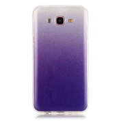 Moonmini Gradient Colour Sparkling Glitter Ultra Slim Fit Soft TPU Phone Back Case Cover for Samsung Galaxy J7 (2015) - Purple