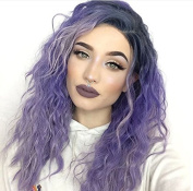 Uniwigs New Arrival Synthetic Fibre Lace Front Wavy Wig, Ombre Purple Colour long Wig,Loose Wave Style wig for Fashion Women