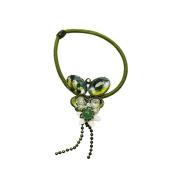 Tamarusan Hair Elastic Green Butterfly Flower Hair Ponytail Holder Aventurine Luxury Womens
