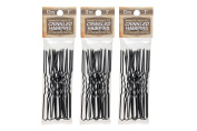 3 Pack 7.6cm Inch Crinkled Stainless Steel Heavy Duty Snagless Hairpins (36 PINS) Handmade Hair Pin