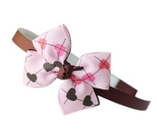 Lovely Pink & Brown Heart-Shaped Bowknot Head Band Hoop Accessory For Girls