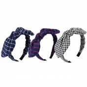 3 PCS Lovely Hair Clasp Headbands Bowknot Hair Band Houndstooth NO.02