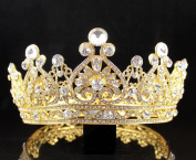 JANEFASHIONS VINTAGE FULL CROWN AUSTRIAN CRYSTAL RHINESTONE TIARA PAGEANT PROM T12159G GOLD