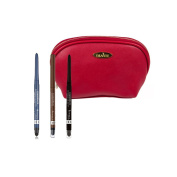 Rimmel Exaggerate Waterproof Eye Definer Kit with Three Colours Rich Brown, Deep Ocean and Noir with Deep Red Draizee Leather Cosmetic Bag