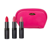 Rimmel Lasting Finish Lipstick (5ml Each) with Three Shades; 05, 12 and 17 with Hot Pink Draizee Leather Cosmetic Bag