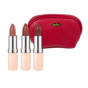Rimmel Lasting Finish Nude Collection Lipstick (5ml Each) with Three Shades; 47,48 and 49 with Blue Draizee Leather Cosmetic Bag