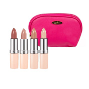 Rimmel Lasting Finish Nude Collection Lipstick (5ml Each) with Four Shades; 40,43,45 and 47 with Hot Pink Draizee Leather Cosmetic Bag