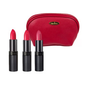 Rimmel Lasting Finish Lipstick (5ml Each) with Three Shades; 005, 010 and 012 with Deep Red Draizee Leather Cosmetic Bag