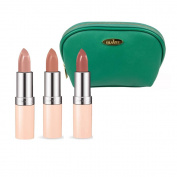 Rimmel Lasting Finish Nude Collection Lipstick (5ml Each) with Three Shades; 45, 46 and 47 with Sea Green Draizee Leather Cosmetic Bag