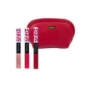 Rimmel 'Provocalips' Kissproof Lipstick Kit in Three Shades (5ml Each), Play with Fire, Kiss Me You Fool and Skinny Dipping with Deep Red Draizee Leather Cosmetic Bag
