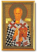 Beading Kit Icon Saint Nicholas The Wonderworker 17cm x 26cm Colour Canvas Bead Set Needle Nylon Thread Guide No Skills Needed