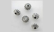 SPACER BEAD DOUBLE CONE CORRUGATED 5x4mm PEWTER 100 LOT