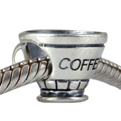 Artbeads Mug Charm Antique 925 Sterling Silver Bead Coffee Cup Charms Fits DIY European Bracelet