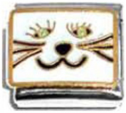 CAT KITTEN CATS FACE MEOW Enamel Italian Charm 9mm - 1 x CA126 Single Bracelet Link