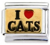 CAT LOVER I LOVE CATS Enamel Italian Charm 9mm - 1 x CA001 Single Bracelet Link