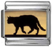 CAT AT SUNSET Photo Italian Charm 9mm Link - 1 x CA106 Single Bracelet Link